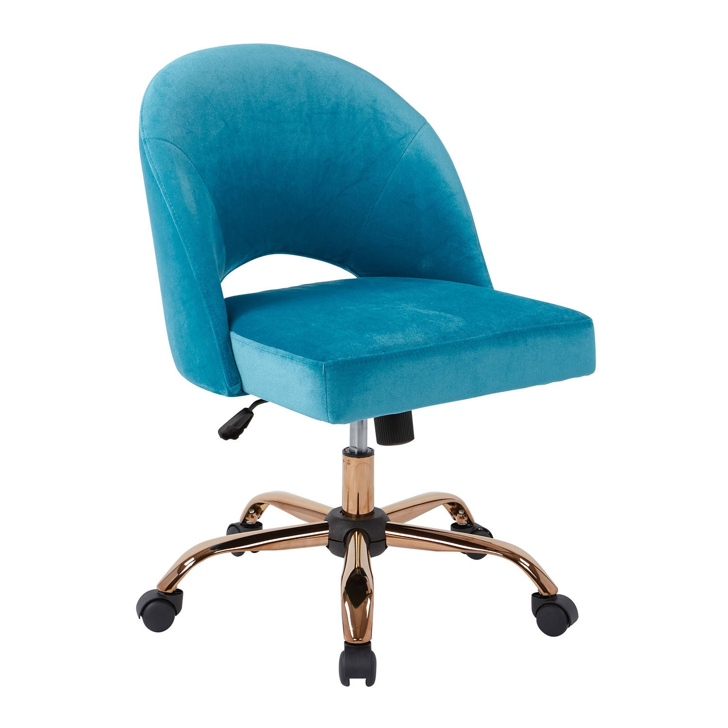OSP Home Furnishings Lula Office Chair with Rose Gold Base (cruising)