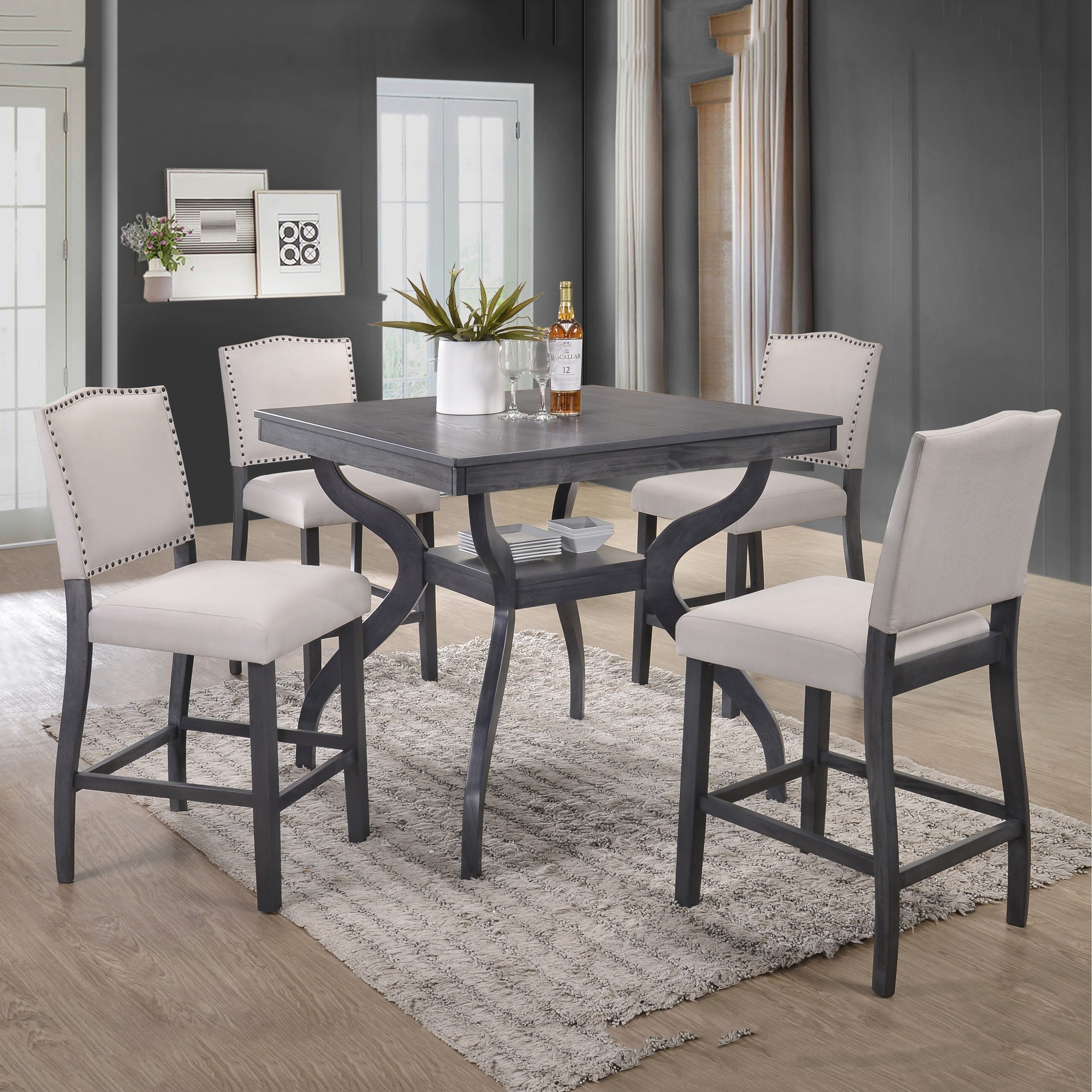 Best Quality Furniture Light Grey 5 Piece Counter Height Dining Set Overstock 18616133
