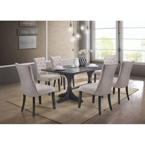 Best Quality Furniture 7-Piece Traditional Dining Set, Light Grey