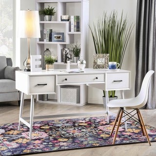 Furniture of America Tyd Mid-century White 52-inch Writing Desk