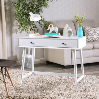 Furniture of America Cuperan Mid-Century Modern Glossy White Wood Writing Desk