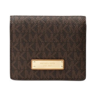 MICHAEL Michael Kors Signature Jet Set Flap Card Holder Brown
