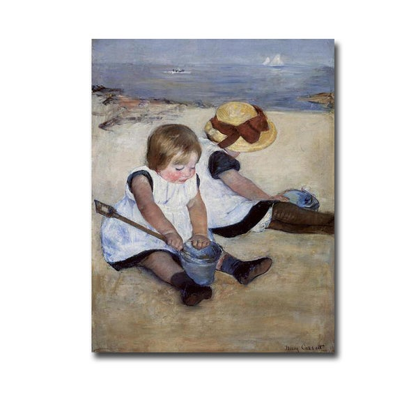 Children Playing on the Beach by Mary Cassatt Gallery-Wrapped Canvas Giclee Art