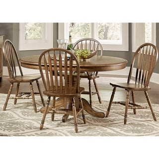Carolina Crossing Antique Honey 5-piece Windsor Oval Pedestal Dinette Set