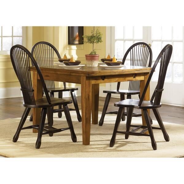 Treasures Rustic Oak and Black 5-piece Sheaf Back Retractable Dinette Set