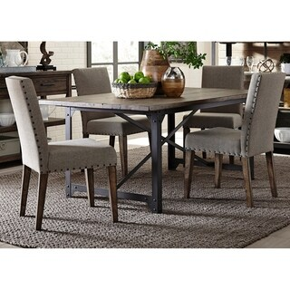 Caldwell Rustic Caramel and Cream 5-piece Upholstered Trestle Dinette Set