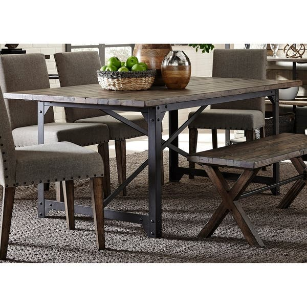 Fine Shop Liberty Caldwell Rustic 6 Piece Bench Trestle Dinette Caraccident5 Cool Chair Designs And Ideas Caraccident5Info