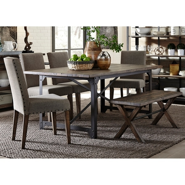 Caldwell Rustic Caramel And Cream 6 Piece Bench Trestle Dinette Set