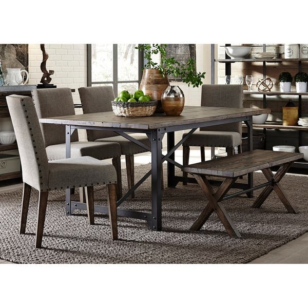 Miraculous Shop Liberty Caldwell Rustic 6 Piece Bench Trestle Dinette Caraccident5 Cool Chair Designs And Ideas Caraccident5Info