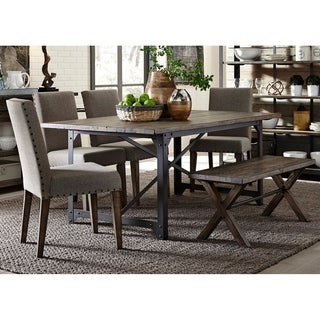 Caldwell Rustic Caramel and Cream 6-piece Bench Trestle Dinette Set