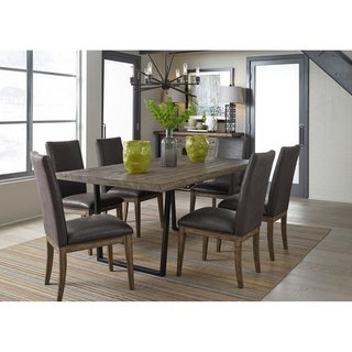 Haley Springs Reclaimed and Chocolate 7-piece Trestle Dinette Set
