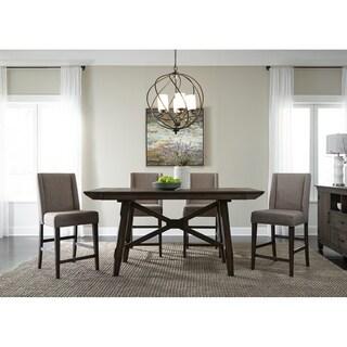 Double Bridge Dark Chestnut and Grey 5-piece Upholstered Gathering Dinette Set