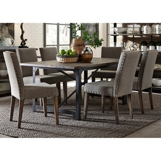 Caldwell Rustic Caramel and Cream 7-piece Upholstered Trestle Dinette Set