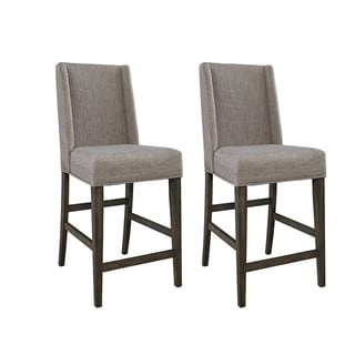 Link to Double Bridge Dark Chestnut Upholstered Counter Height Barstool (Set of 2) Similar Items in Dining Room & Bar Furniture