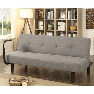 Furniture of America Kobran Contemporary Tufted Grey Futon Sofa with Table