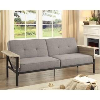Furniture of America Meline Contemporary Tufted Grey Futon Sofa