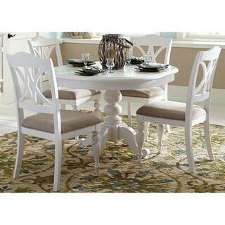 Liberty Summer House Oyster White Round Pedestal Dining Table