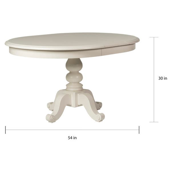 Shop Summer House Oyster White Round Pedestal Dining Table ...