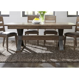 Sonoma Road Weather Beaten Bark and Antique Pewter Trestle Dining Table