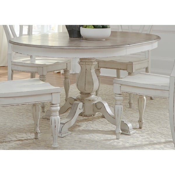 Shop Magnolia Manor Antique White Pedestal Table Antique White - White pedestal table with leaf