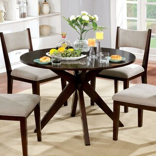 Furniture of America Kiara Mid-century Modern Brown Cherry Wood 42-inch Round Criss-cross Dining Table