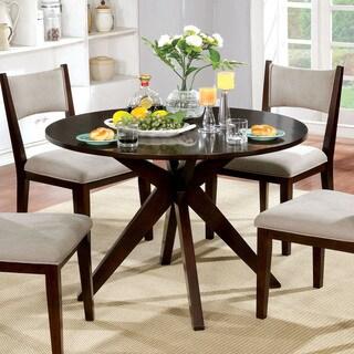 Furniture Of America Kiara Mid Century Modern Brown Cherry Wood 42 Inch  Round Criss