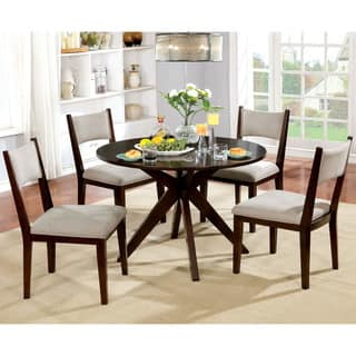 Furniture Of America Kiara Mid Century Modern 5 Piece Brown Cherry Round Dining Set