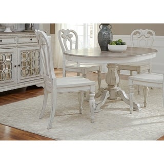 Magnolia Manor Antique White 5-piece Splat Back Pedestal Dinette Set