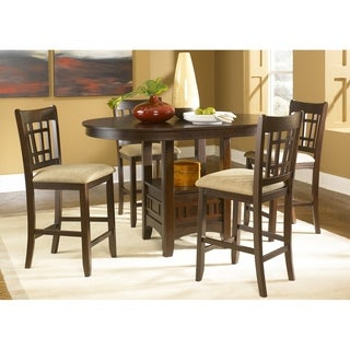 Santa Rosa Merlot Brown Wood 5-piece Pub Dining Set with Tan Linen Upholstered Chairs
