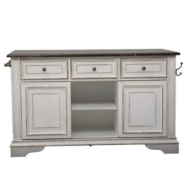 Magnolia Manor Antique White Kitchen Island with Granite Top