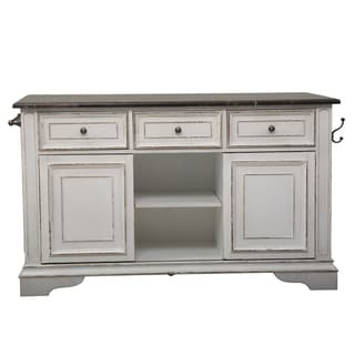 Liberty Magnolia Manor Antique White Wood/Veneer Kitchen Island With Granite Top