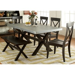 Liberty Keaton II Charcoal Rubberwood/Zinc 6-piece X-back Trestle Dinette Set