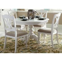 Summer House Oyster White 5-piece Round Pedestal Table Dining Set
