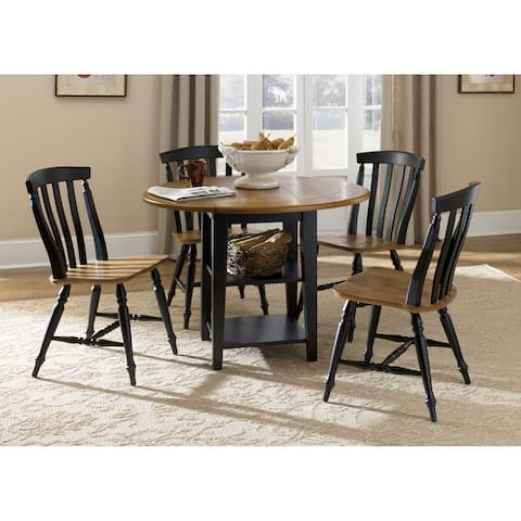 Al Fresco II Driftwood and Black 5-piece Drop Leaf Dining Set