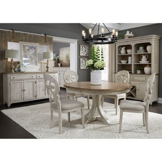 Farmhouse Antique Two-toned 5-piece Pedestal Table Dining Set