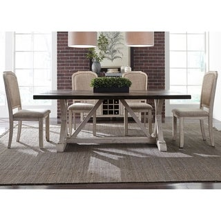 Willowrun Rustic White and Weathered Grey 5-piece Trestle Table Set