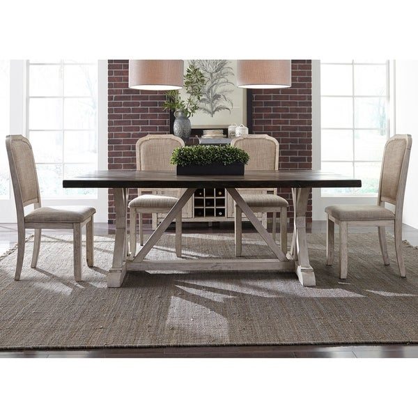 Genial Willowrun Rustic White And Weathered Grey 5 Piece Trestle Table Set