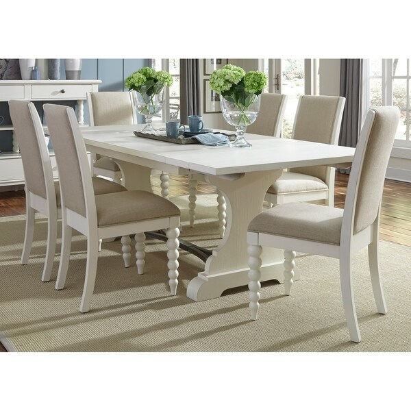 Archibald 7 Piece White Dining Set: Shop Harbor View II White Opt 7-piece Trestle Table Dining