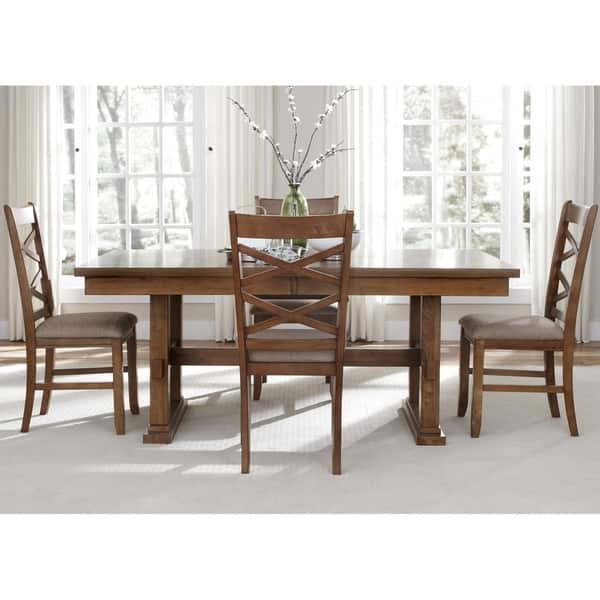 Brilliant Shop Liberty Bistro Honey 5 Piece Trestle Table Dining Set Andrewgaddart Wooden Chair Designs For Living Room Andrewgaddartcom