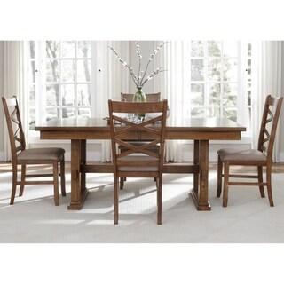 Liberty Bistro Honey Rubberwood/ Tan Chenille 5-piece Trestle Table Dining Set