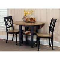 Al Fresco II Driftwood and Black Opt 3-piece Drop Leaf Table Set
