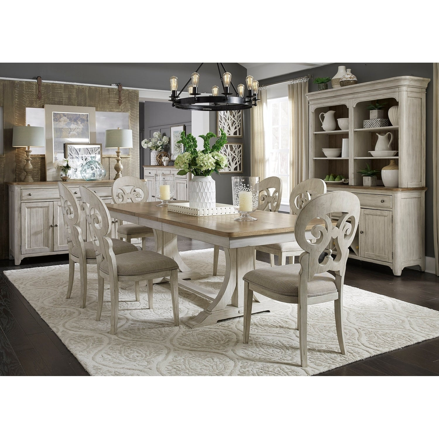 Farmhouse Reimagined Antique Two Toned 7 Piece Trestle Table Dining Set Overstock 18620076