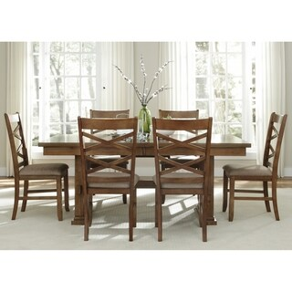 Liberty Bistro Honey Wood 7-piece Trestle Table Dining Set