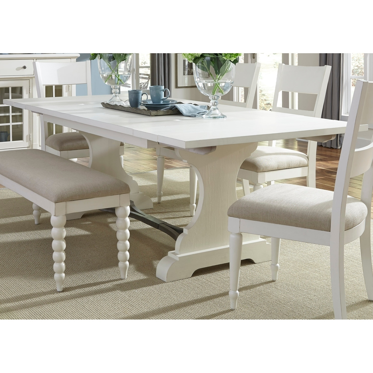 Harbor View Ii White 6 Piece Trestle Table Dining Set