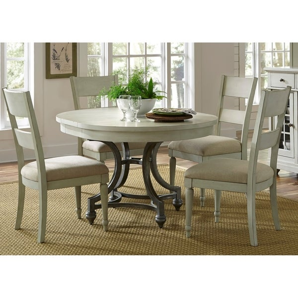 Round Table Sets: Shop Harbor View III Dove Grey 5-piece Round Table Dining