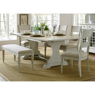 Harbor View III Dove Grey 6-piece Trestle Table Dining Set