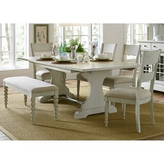 Harbor View III Dove Grey 6-piece Trestle Table Dining Set