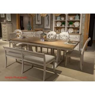 Farmhouse Antique Two Toned Opt 7 Piece Trestle Table Dining Set