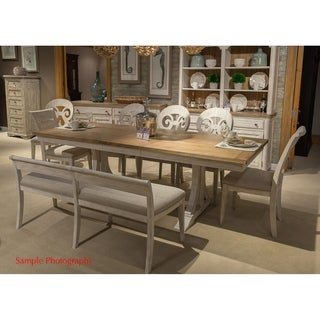 Exceptional Farmhouse Antique Two Toned Opt 7 Piece Trestle Table Dining Set
