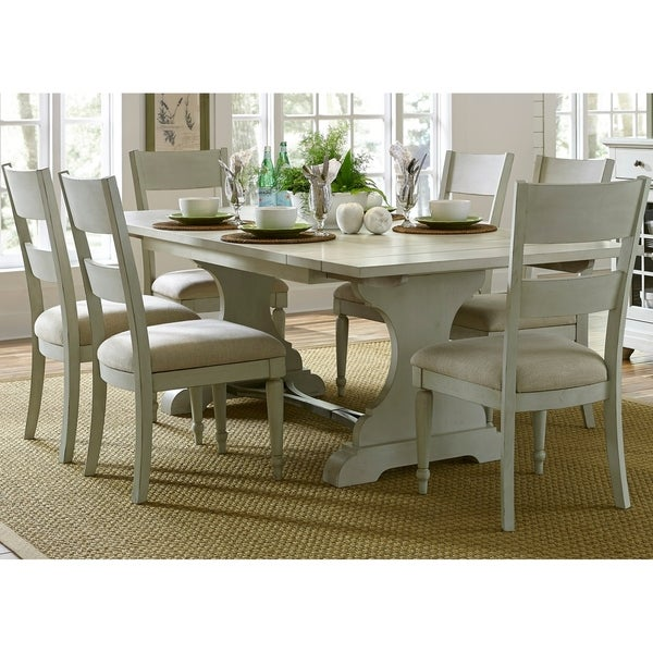 Harbor View III Dove Grey 7 Piece Trestle Table Dining Set